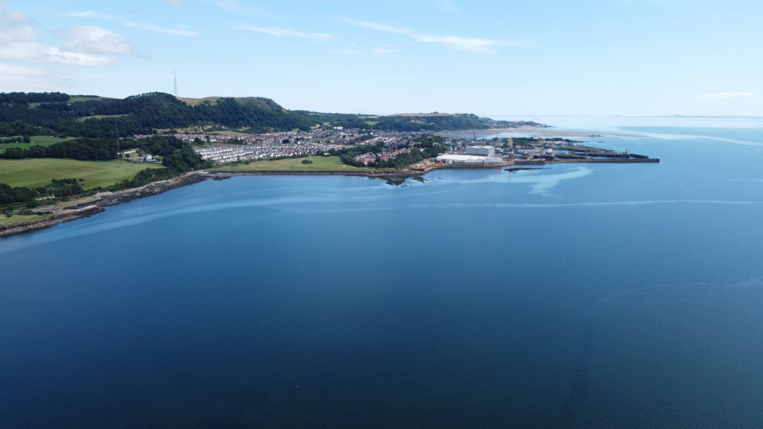 Aerial shot of Burntisland and Fife coastal path